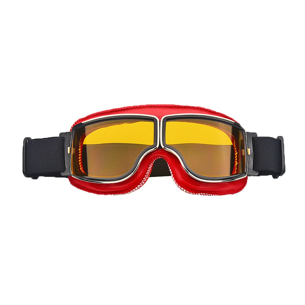 Red Lens Windproof Motorcycle Vintage Goggles Pilot